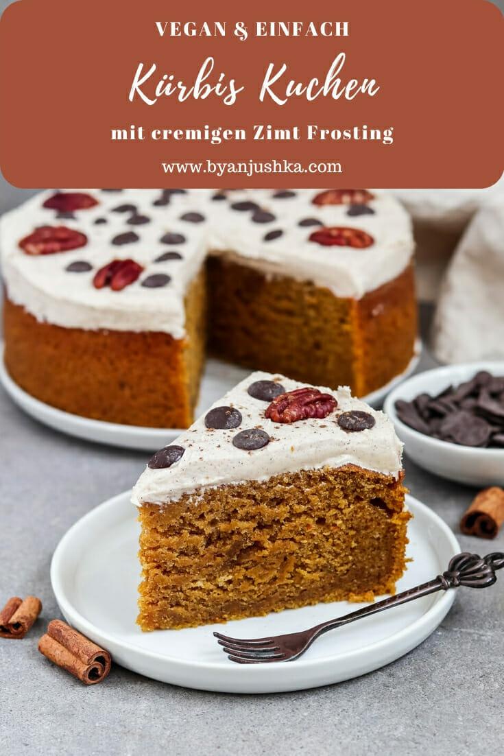 Veganer Kürbis Kuchen mit Zimt Frosting. Pinterest Bild.