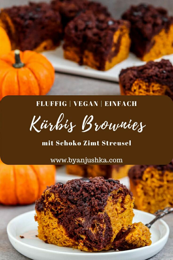 Vegane Kürbis Brownies mit Schoko Zimt Streusel. Pinterest Bild.
