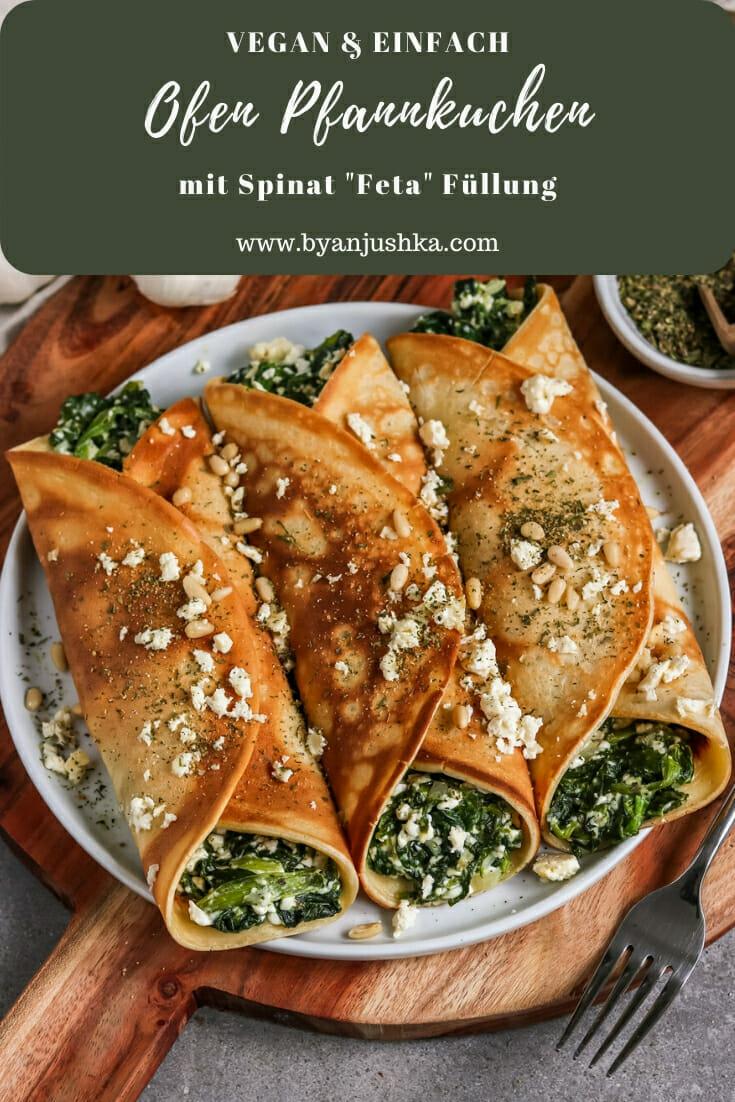 Vegane Ofen Pfannkuchen mit Spinat Feta Füllung. Pinterest Bild.
