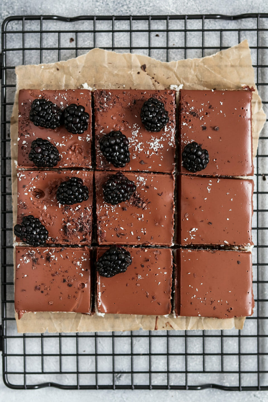 Vegane Schoko Kokos Bars mit cremiger Schokoladen Ganache