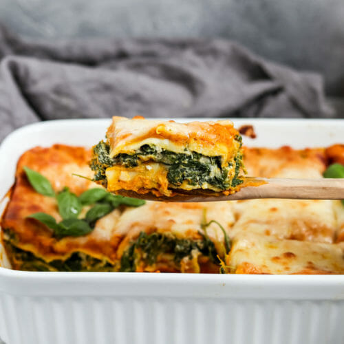 Vegan Pumpkin Lasagna with Spinach and Cashew Ricotta.