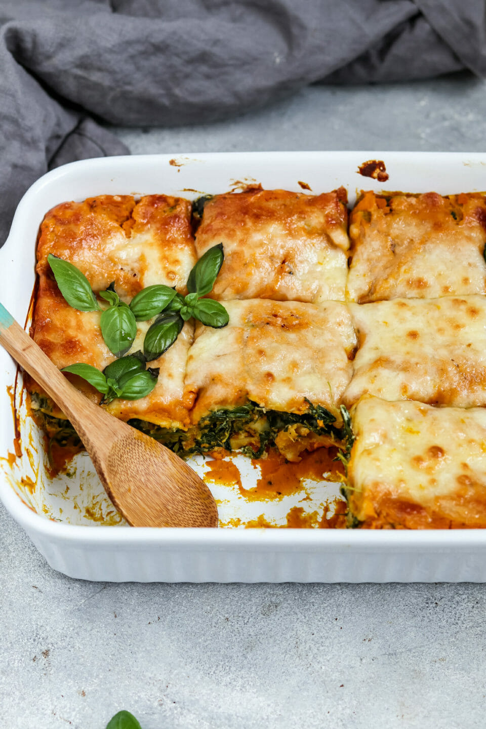 Pumpkin Lasagna with Spinach and Cashew Ricotta.