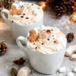 Hot Vanilla Crescents Drink with vegan cream.