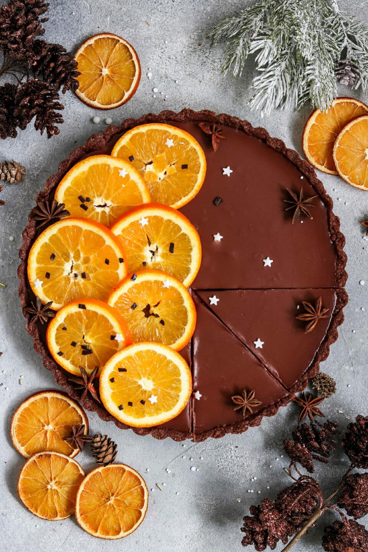 Vegane Schokoladen Orangen Tarte.