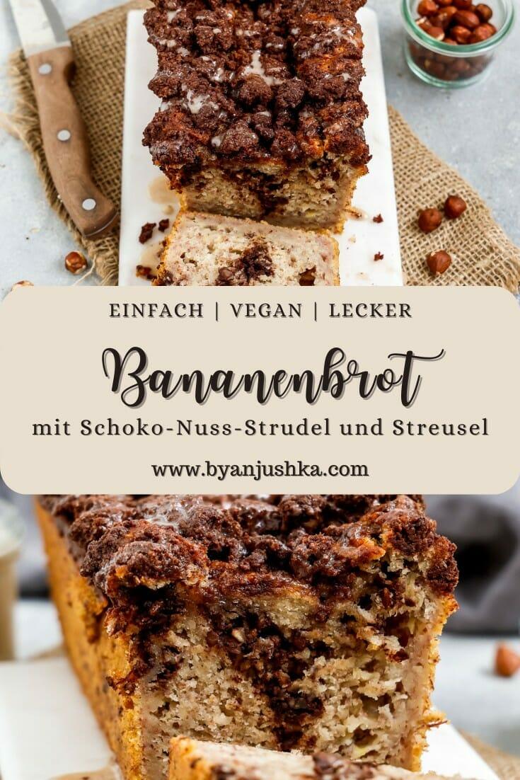 """Collage für das Rezept """"Veganes Schoko-Nuss-Strudel Bananenbrot"""" zum pinnen auf Pinterest"""