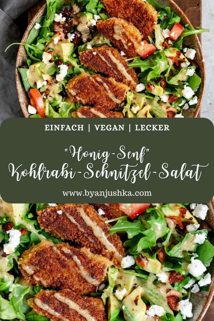 """Collage für das Rezept """"Veganer Honig-Senf Schnitzel Salat"""" zum teilen auf Pinterest"""