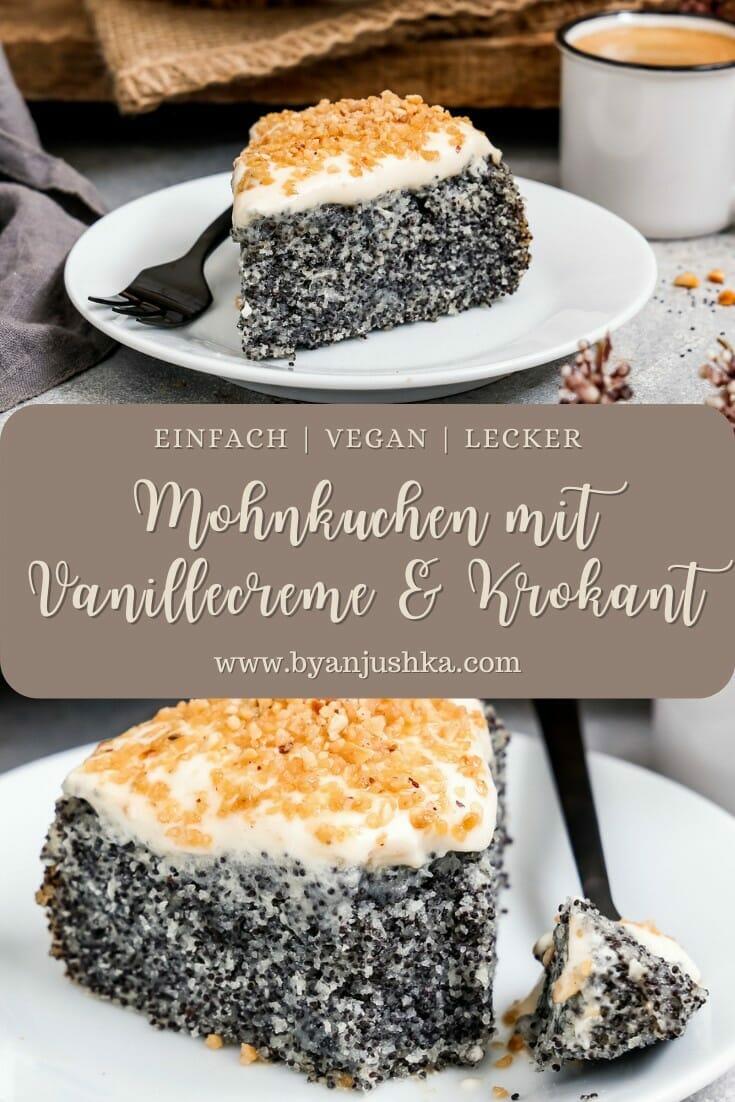 """Collage für das Rezept """"Veganer Mohnkuchen mit Vanillecreme"""" zum pinnen auf Pinterest"""
