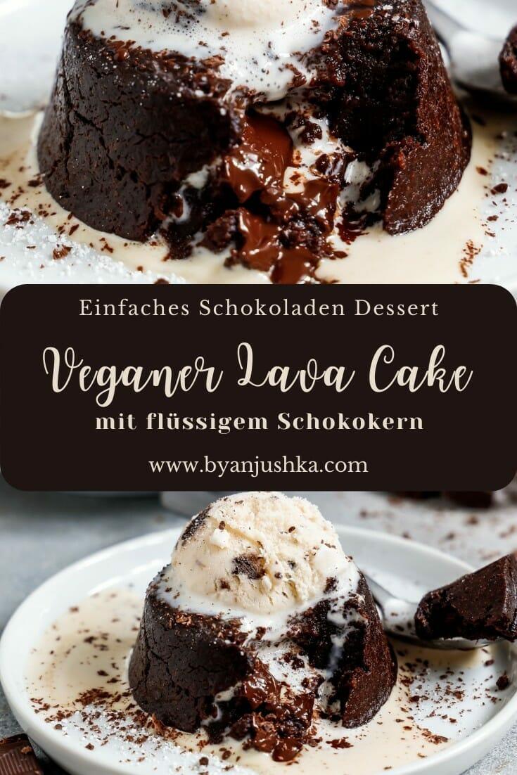 """Collage für das Rezept """"Veganer Lava Cake"""" zum teilen auf Pinterest"""
