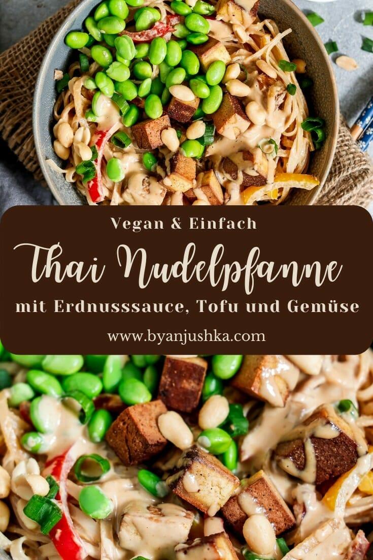 """Collage für das Rezept """"Thai Nudelpfanne"""" zum teilen auf Pinterest"""