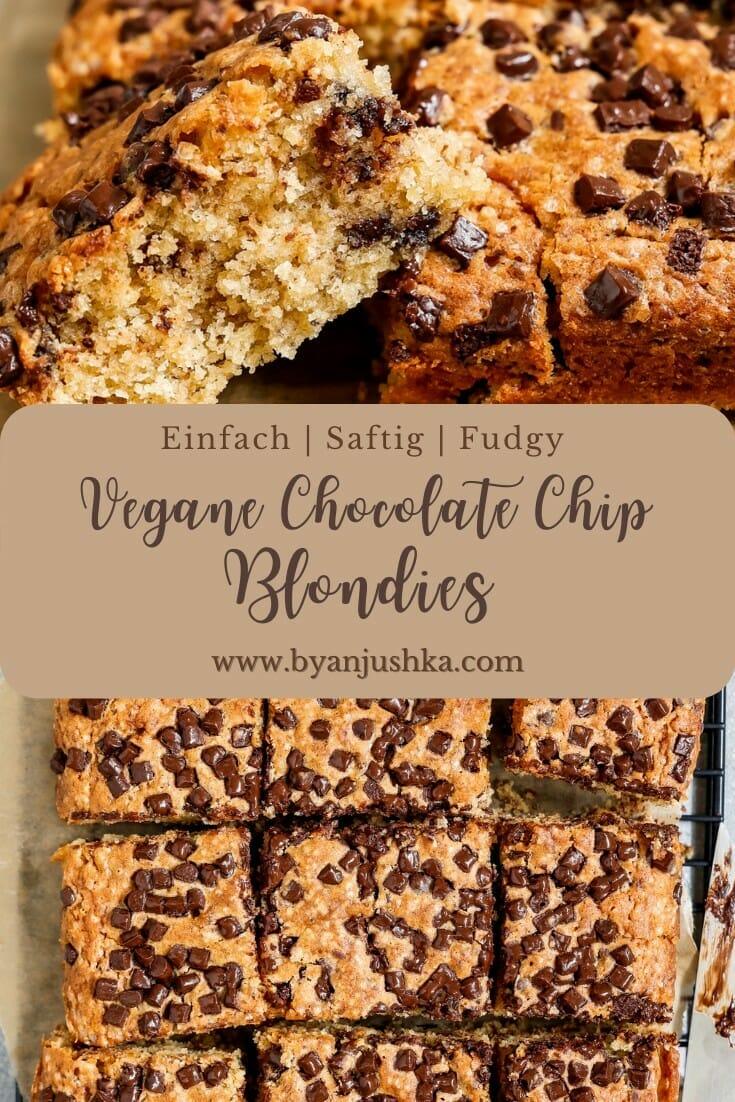 """Collage für das Rezept """"Vegane Chocolate Chip Blondies"""" zum teilen auf Pinterest"""