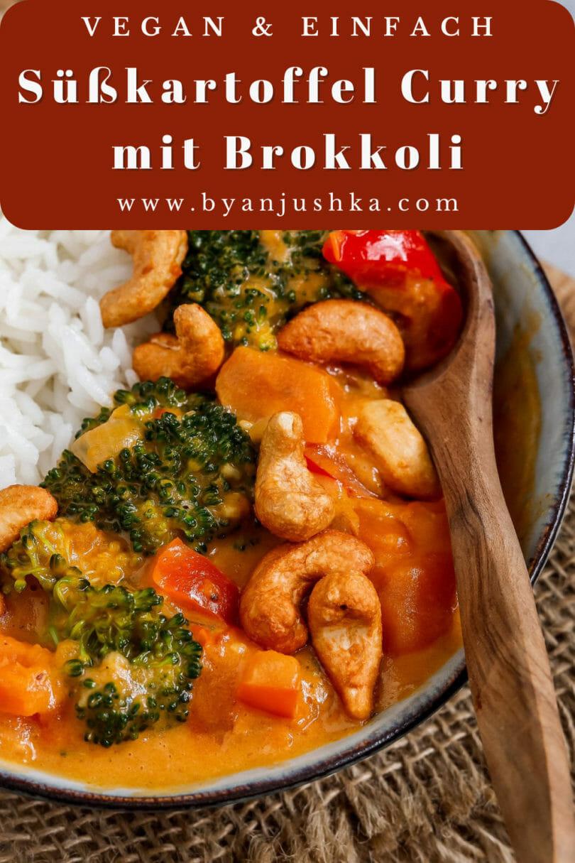 """Collage für das Rezept """"Veganes Süßkartoffel Curry mit Brokkoli"""" zum teilen auf Pinterest"""